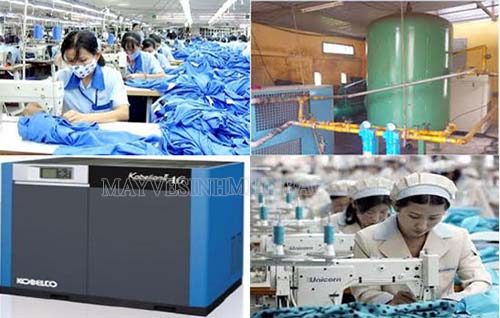 Máy nén khí công nghiệp dùng để xịt thổi bụi bẩn trong ngành may mặc