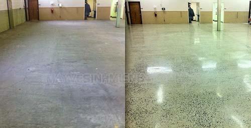 Trước và sau khi sàn được đánh bóng