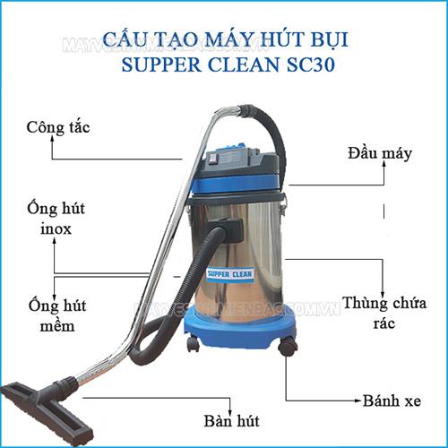 Máy hút bụi hút nước công nghiệp Supper Clean SC30