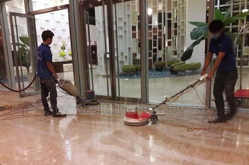 Quy trình đánh bóng sàn đá của các đơn vị dịch vụ tại Hà Nội