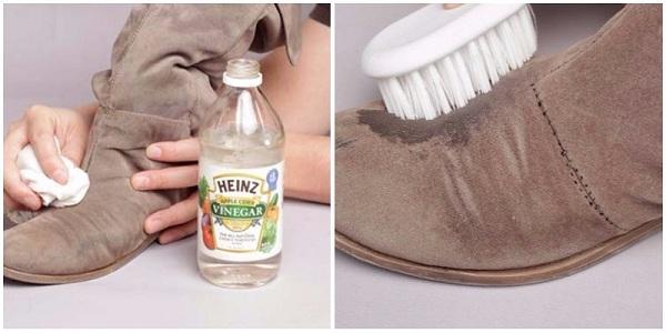 đánh giày da lộn bằng giấm