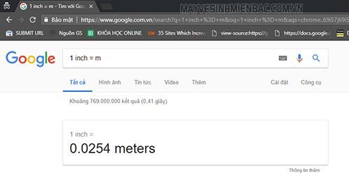 Phần mềm quy đổi inch sang mm trên Google