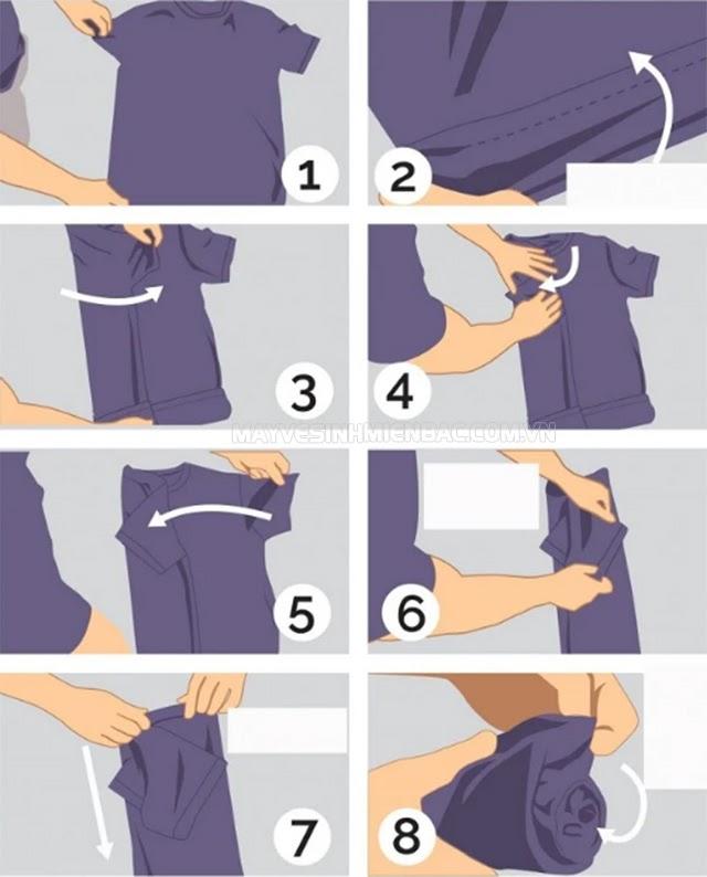 cách gấp áo phông cuộn tròn