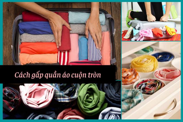 cách gấp quần áo cuộn tròn