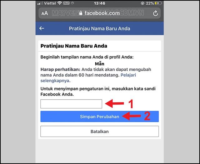cách đổi tên trên facebook chỉ có 1 chữ